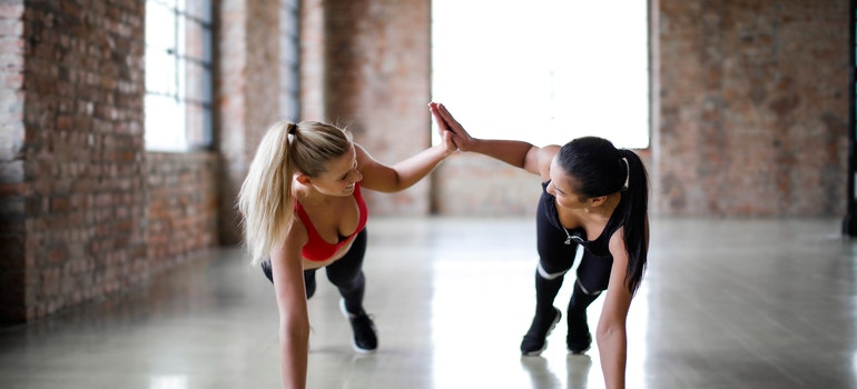 Two woman training together