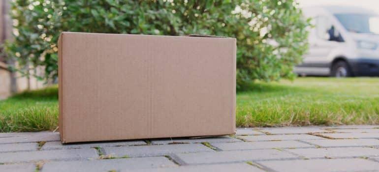 A box on a sidewalk