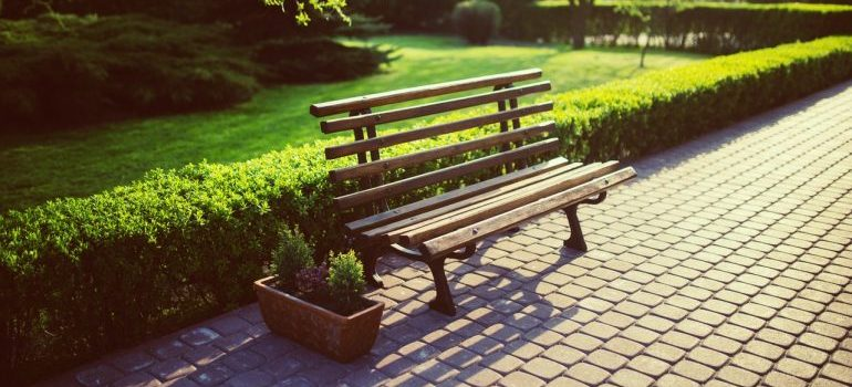 A brown bench in a park