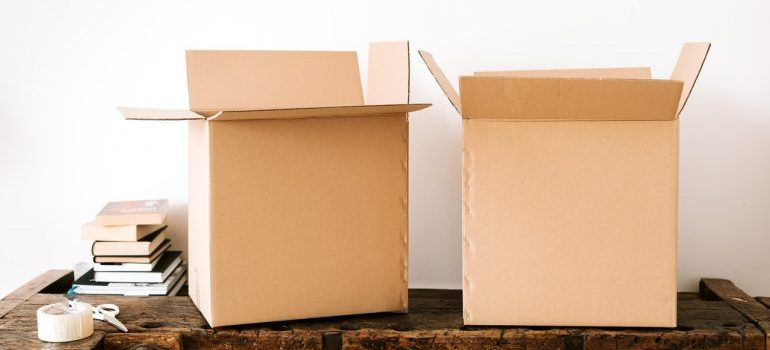 Two boxes and other packing supplies
