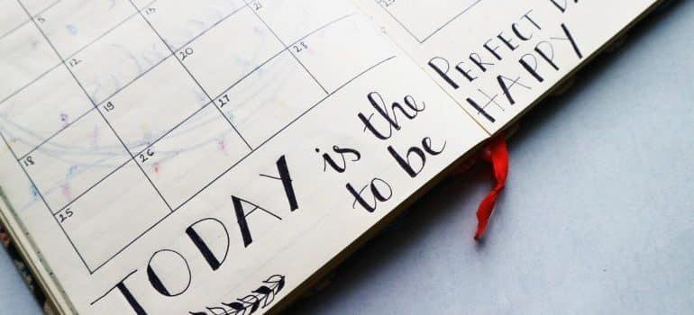 A calendar with motivational words