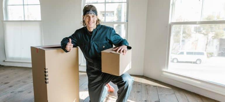 Man holding a box.