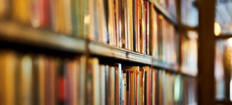 Bookshelf with books on it.