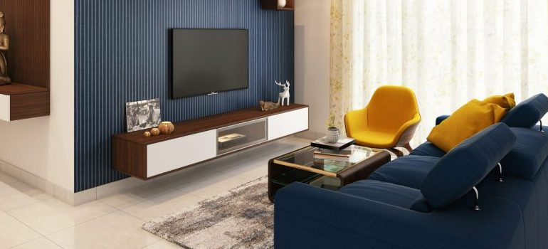 a living room interior as a way to decorate your apartment after moving to Amherst