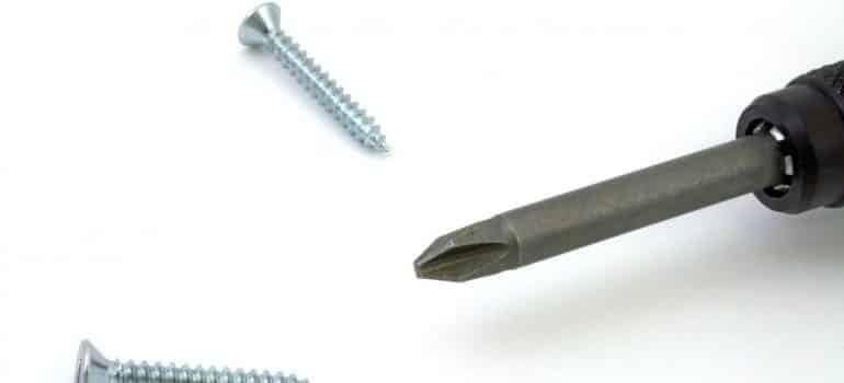 Screws next to a screw driver
