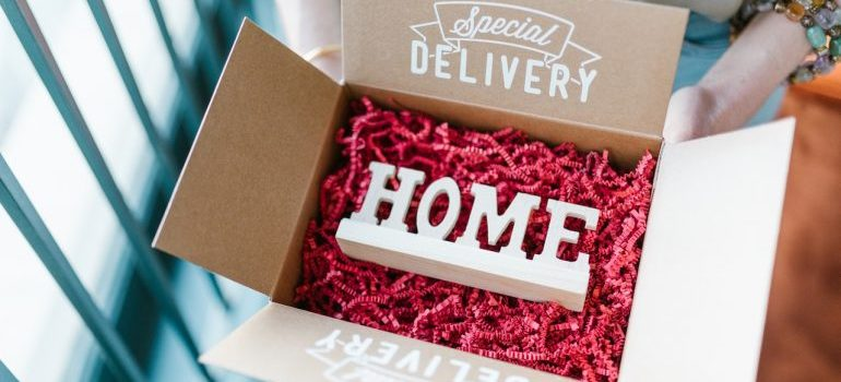 Home decoration inside of a box.