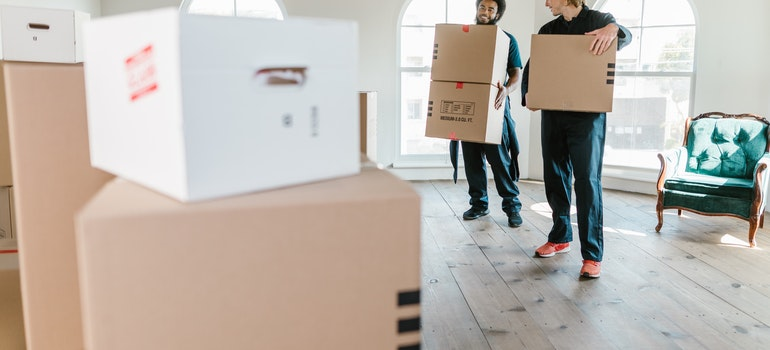 movers with moving boxes